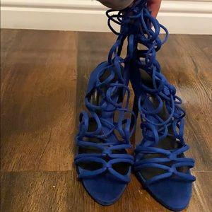 Blue strap on heels